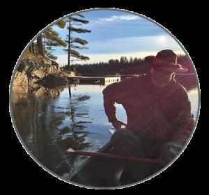 Paul Cassel in a canoe